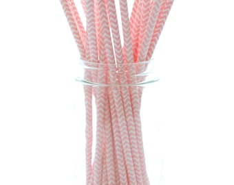 Pink Chevron Party Straws, Soda Straws, Old Fashioned Paper Straws, Pink and White Drinking Straws, 25 Pack - Pink Chevron Straws