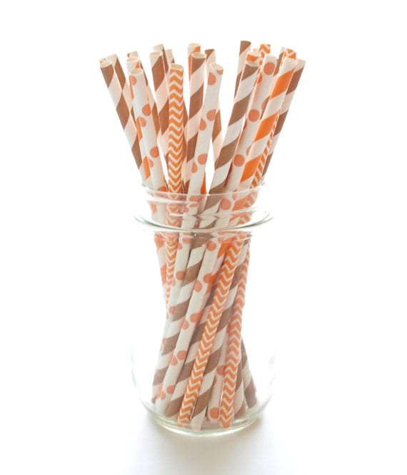 Thanksgiving Orange & Brown Straws, Harvest Autumn Straws, Thanksgiving Dinner Supplies, Fall Straws, 25 Pack - Thanksgiving Straws