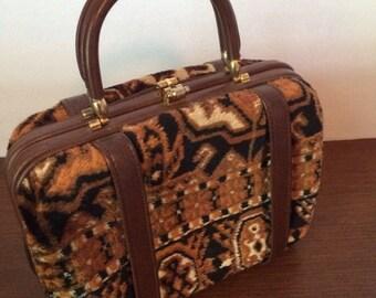 Vintage Margolin Tapestry Brown and Black Handbag Made in Italy