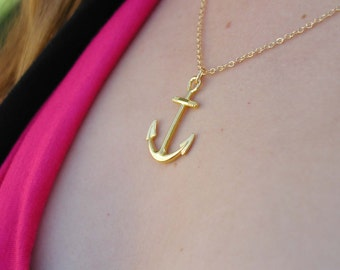 Anchor Necklace - Charm Necklace - Gold Anchor Necklace - Gold Necklace - Anchor Pendant - Nautical Necklace - Anchor Charm - Anchor Jewlery