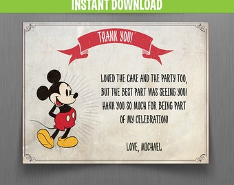 Disney Vintage Style Mickey Mouse Birthday Thank You Cards - Instant Download and Edit with Adobe Reader