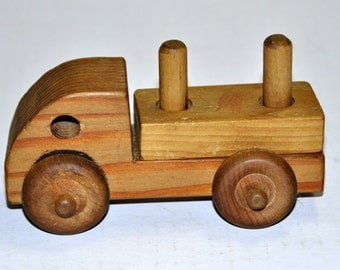 Natural Toys. Wood Toys. Wooden Truck. Wooden Toys. Children's Toys. Preschool Toys. Flatbed Truck. Vintage Truck. Vintage Toys. Wood Truck.