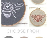 DIY embroidery KIT, bumblebee embroidery pattern, modern hand embroidery pattern, I Heart Stitch Art, bee needlecraft kit, bee pattern