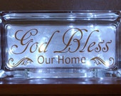 God Bless our Home, Lighted Decorative glass block, sign with vinyl saying