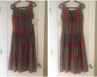 "Deadstock 80s KIKIMO dress / 35"" bust / Plaid /  Vintage"