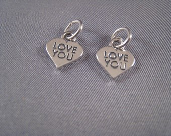 Two - Love You Heart .925 Sterling Silver Charms