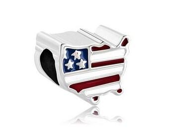 USA Bead, America Charm, Large Hole Bead, European Bead, Charm Bead, Charm Bracelet, European Charm, Big Hole Bead, Red, Blue, White