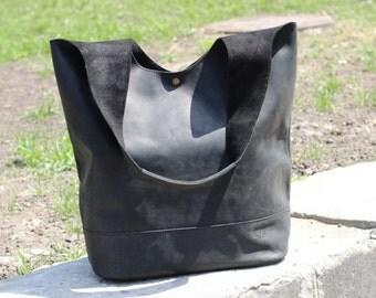 Large tote bag, handmade leather bag, womens bag, shoulder bag, leather tote, Paket S,Black