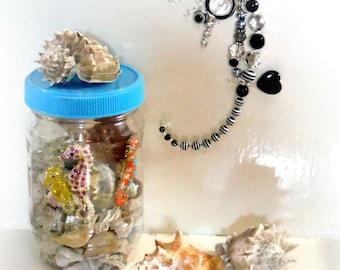 Black and White Seahorse,Small Art,Original 3D Art,Mixed Media Art,White Black,Ocean Nautical,Small Gift,Seahorsest,OOAK, Black Portal