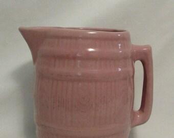 Pitcher, Barrell Design, Pink Glazed Ceramic, 1950's