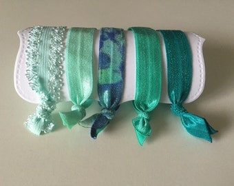 Set of 5 Hair Ties, All Ages, elastic knotted hair ties, wont damage hair, crease, or slip! Beautiful blues