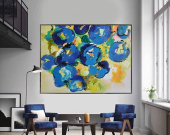 Handmade Extra Large Contemporary Painting, Huge Abstract Canvas Art, Original Artwork by Leo. Hand paint. Green, blue, yellow, orange.