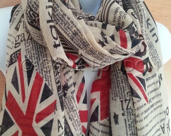 Union Jack Print Newspaper Scarf