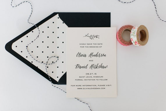 olivia save the date invitation - customizable (sets of 10)  //  lola louie paperie