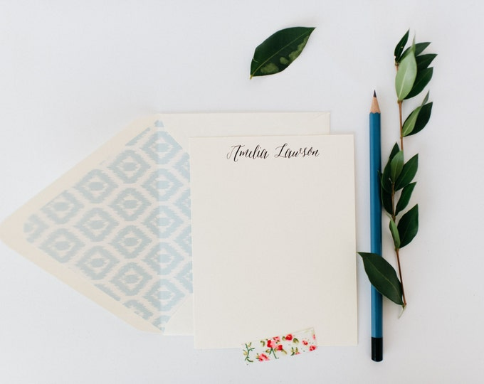 personalized notecard set / stationery / card set / flat personalized wedding thank you cards / baby shower cards / calligraphy