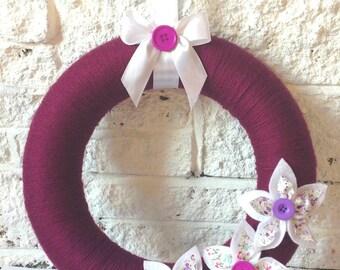 Purple Mulberry Yarn Wool Wreath