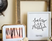 the Lord is faithful \\ 8x10 handlettered scripture art wall decor