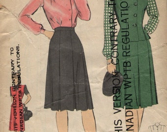 Vintage 1940s Hollywood Sewing Pattern 1268 - Misses' Blouse, Skirt and Jerkin size 14 bust 32, hip 35