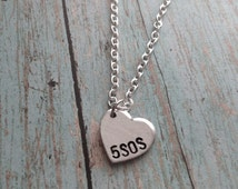5 Seconds of Summer 5SOS Heart Hand Stamped Necklace