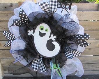 "24"" Halloween Wreath Halloween Deco Mesh Wreath Ghost Wreath Boo Wreath Black White Wreath Ghost Deco Mesh Wreath Boo Deco Mesh Wreath"