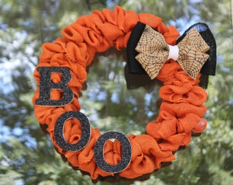 Boo Halloween Wreath - Fall Wreath - Autumn Wreath - Orange and Black Wreath