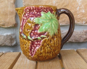 Vintage Majolica pitcher-Japanese-free shipping