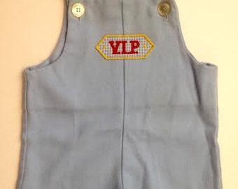 Vintage Pale Blue V.I.P Baby Boy Overalls. Vintage Blue Shortalls. Vintage 70's Blue Overalls. Retro Sports Overalls. Size 6 months