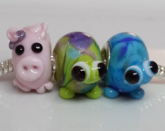 Pig/tortoise Lampwork glass bead, big hole to fit European style charm jewellery 5mm hole...3 to choose from