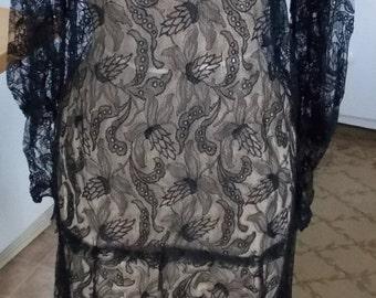 BIG SALE Stunning 1930's Vintage Black Lace Gown