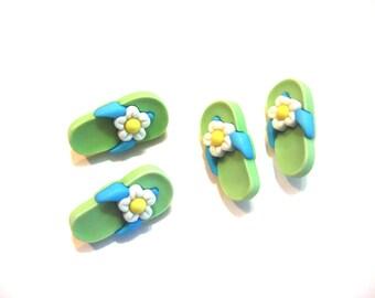 Flip Flop Buttons Galore Fun In The Sun Flip Flops 3D Green Set of 2 Pairs Shank Back - 120 D