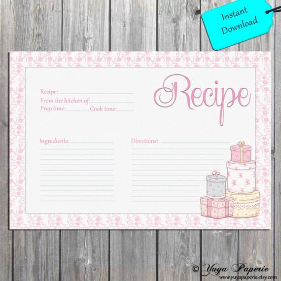 Chic Recipe Card Gift recipe card wedding, Bridal Shower Recipe card ...