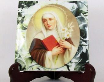 Christian art - Saint Catherine of Siena - ceramic tile - catholic gifts religious gifts patron saint of USA and Europe - St Catherine