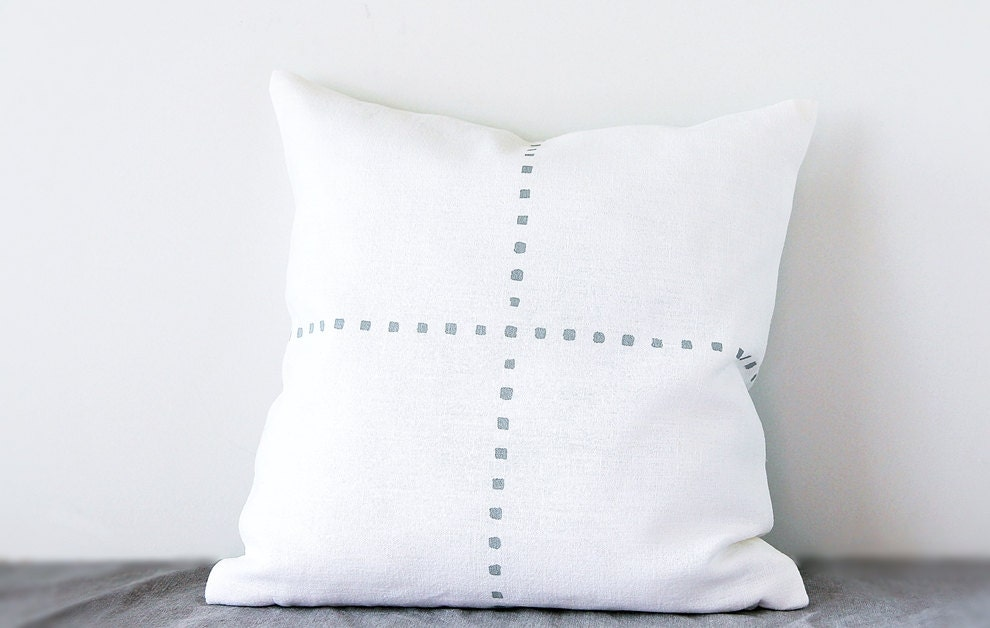 Off white pillow case Scandinavian style decorative linen