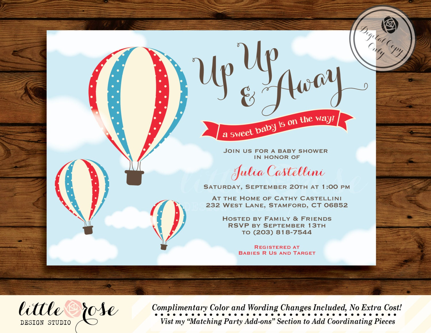 hot air balloon baby shower invitation up up by littlerosestudio