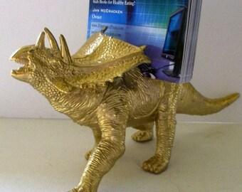 Business Card Holder, Gold Dinosaur Business Card Holder, Gold Dinosaur, Desk Accessory, Guy Gift, Father's Day, Man Cave, Jurassic Fun!