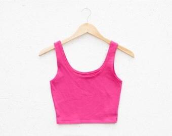 SALE 50% OFF - Women's Organic Fuchsia Pink Fitted Crop Tank - Small-Medium