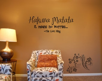 Hakuna Matata It means no worries - The Lion King - Wall Decals - Wall Vinyl  - Movie quote wall decal - Lion King wall vinyl saying