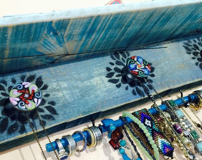 Floating wall shelves /jewelry holder shelf /accent shelves Necklace hanging /reclaimed palletwood hanger 3 knobs 2 hooks blue bracelet bar