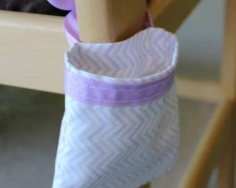 Pacifier Holder, Pacifier Pocket, Pacifier Pouch, Binkie Bag, Binky Bag, Nursery Storage Bag - Purple Chevron