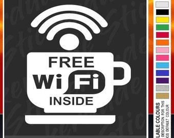 Free WiFi vinyl sticker / decal for window, cafe, bar, pub, business, Wi Fi