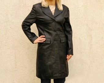 Vintage Black Leather Trench Coat Genuine Leather Jacket Full Length Vintage 1980's Size Medium