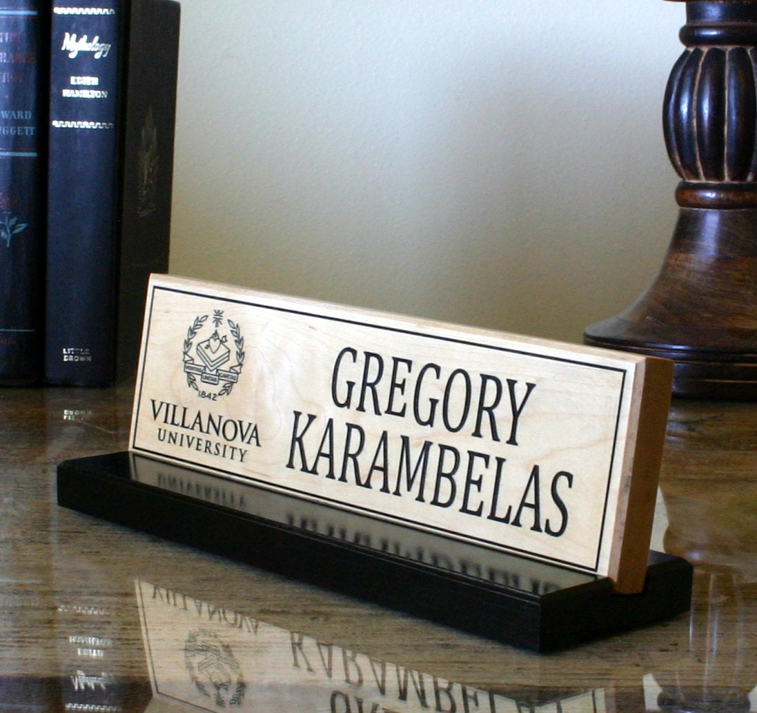 Desk Name Plate Personalized Customized Logo Engraved Solid