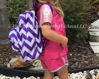 Mini Chevron Backpack with FREE Name or monogram - 12 colors Great for toddlers, Pre-schoolers, or smaller children