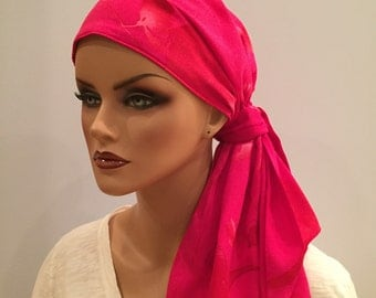 Carlee Pre-Tied Head Scarf, Women's Cancer Headwear, Chemo Scarf, Alopecia Hat, Head Wrap, Head Cover for Hair Loss - Hot Pink Floral