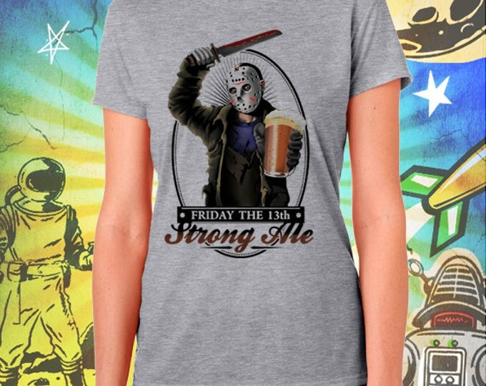 Jason's Strong Ale Women's Gray T-Shirt Friday the 13th Beer Tshirt