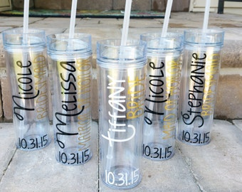 2 Bachelorette Personalized Bridesmaid Tumblers, Wedding Party Tumblers, Bachelorette Party, Bachelorette Cups
