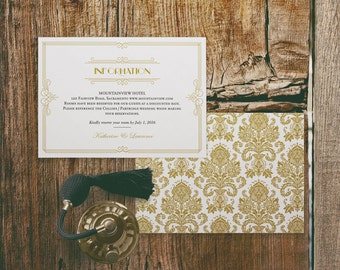 Printable Wedding Information Insert Card Template in Gatsby 1920 Gold