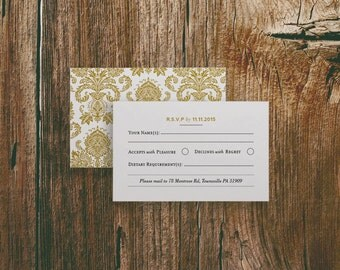 Printable Wedding Information RSVP Card Template in Gatsby 1920s Gold