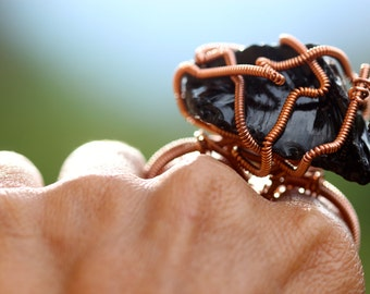 Double Finger Black Andara Crystal Ring in Copper Wire - Large Andara Crystal Magical Two Finger Andara Ring!! -