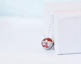 Pokemon necklace, sterling silver pokeball necklace
